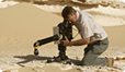 Filming sand viper in Qatar. Photo by Morne Terblanche.