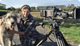 Sophie Darlington, wolfhound and Arri Amira on location for BBC Autumnwatch 2014