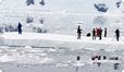 Filming on icebergs on the Antarctic Peninsula.